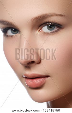 Portrait Of Beautiful Young Woman With Clean Face. High Key