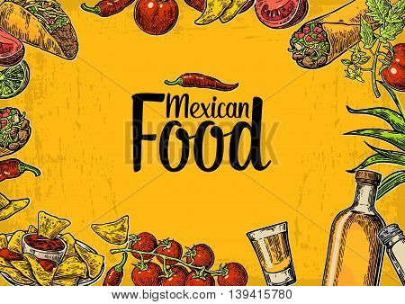 Mexican traditional food restaurant menu template with traditional spicy dish. burrito, tacos, tomato, nachos, tequila, lime. Vector vintage engraved illustration on yellow background. For poster, web