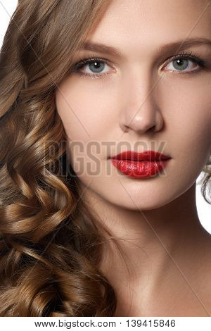 Beautiful Young Woman With Long Curly Hair. Beautiful Model