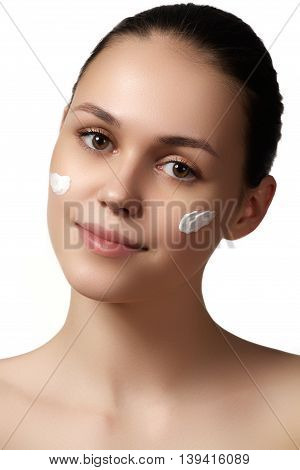 Beauty Woman Face Portrait. Spa Model Girl With Perfect