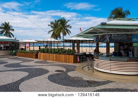 Rio de Janeiro, Brazil - July 18, 2016: Outdoor bar and restaurant on the pavement in Copacabana beach