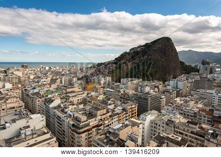 Aerial view of Copacabana district with Cantagalo slum on the mountain in Rio de Janeiro