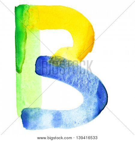 Letter B - Vivid watercolor alphabet. Colours resemble flag of Brazil