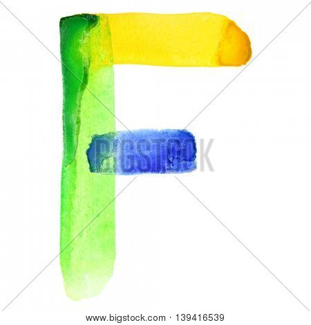 Letter F - Vivid watercolor alphabet. Colours resemble flag of Brazil