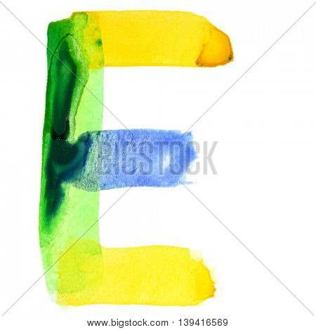 Letter E - Vivid watercolor alphabet. Colours resemble flag of Brazil