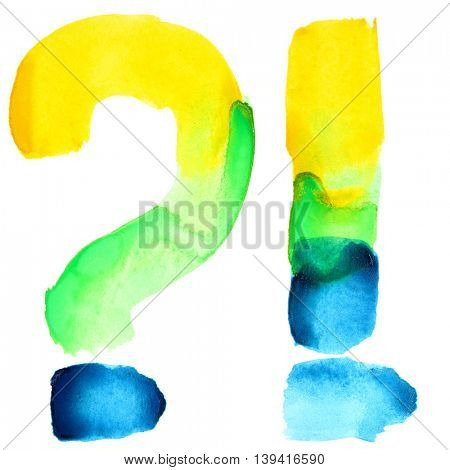 Exclamation and question marks - Vivid watercolor alphabet. Colours resemble flag of Brazil