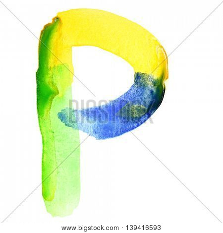 Letter P - Vivid watercolor alphabet. Colours resemble flag of Brazil