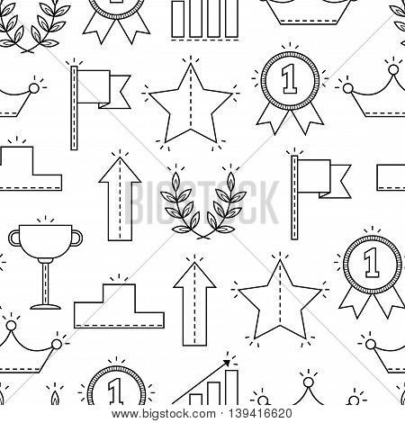 Black and white seamless pattern with icons of success, victory. Background