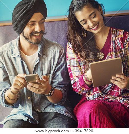 Indian People Togetherness Communication Digital Device Concept