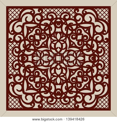 Geometric ornament. The template pattern for decorative panel. A picture suitable for paper cutting printing laser cutting or engraving wood metal. Stencil manufacturing. Vector