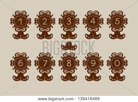 Decorative desk stand with numbering. A picture suitable for paper cutting printing laser cutting or engraving. Stencil manufacturing. Vector