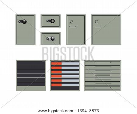 Safes and cabinets for storage of money and documents isolated on white background. Flat style. Vector