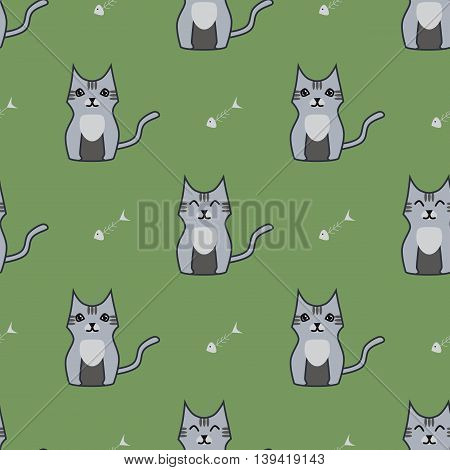 Gray cute cartoon cat seamless background. Simple and nice