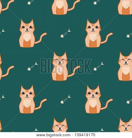 Orange and dark green cat seamless backround