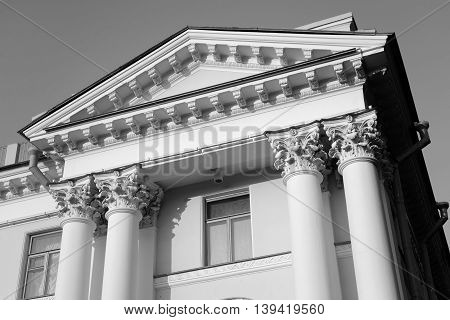 Fragment of Yelagin Palace in St. Petersburg Russia. Black and white.