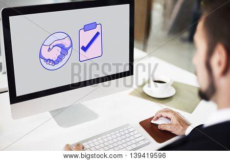 Handshake Agreement Tick Graphics Concept