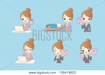 cartoon business woman using computer and piggy bank