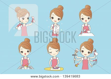 woman is doing housework and look happilyhealth lifestyle concept