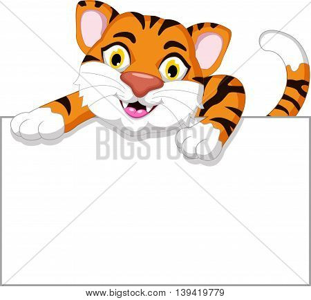 Cute tiger cartoon with a blank sign
