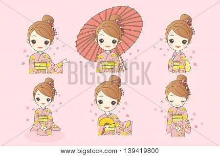 japanese girl is wear kimono and take Japanese paper umbrella with cherry blossom or sakura