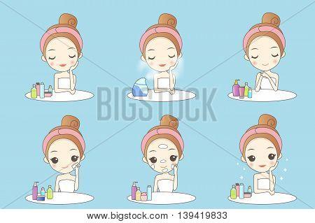 cute cartoon woman is doing beauty care