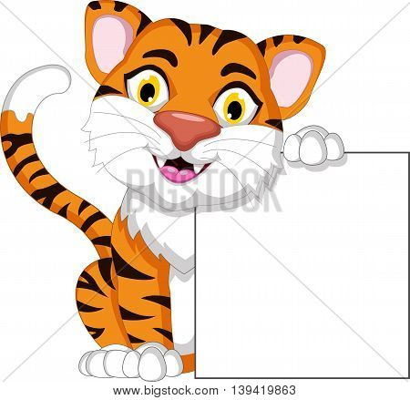Cute tiger cartoon posing with blank sign