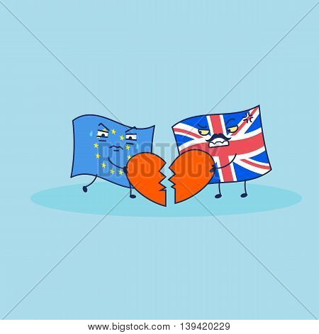 British flag is broken eu flag heart