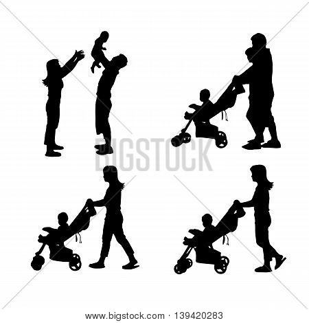 silhouette of family with white background great for your design