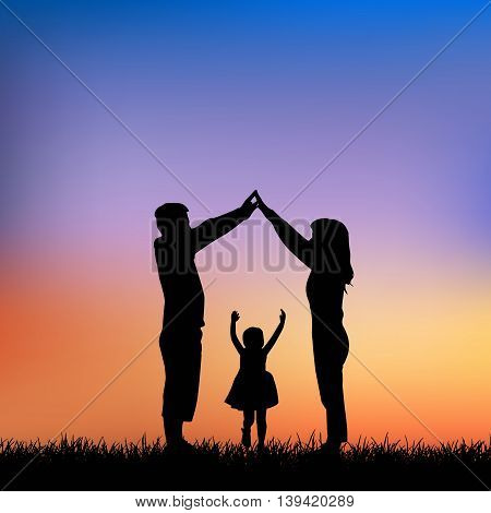 silhouette of family with sunset background great for your design