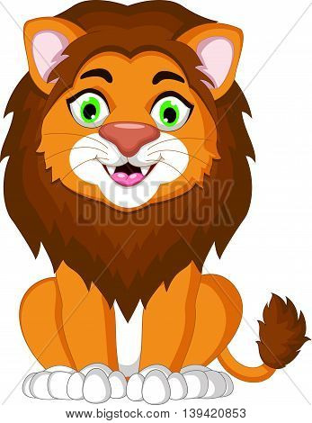 cute lion cartoon sitting for you design