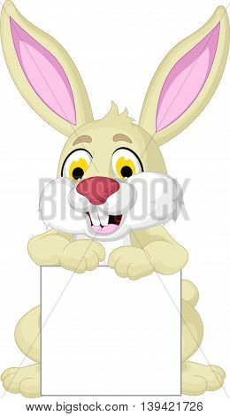 cute rabbit cartoon posing with blank sign