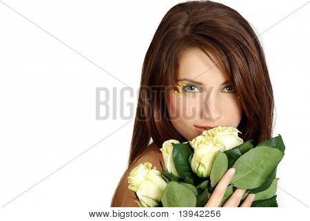 portrait of girl with white rose