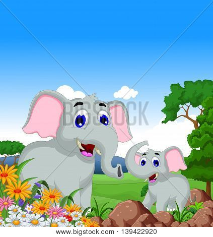 funny elephant cartoon family with forest landscape bacground