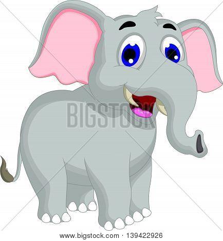 funny elephant cartoon posing for you design