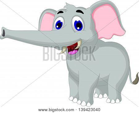 funny elephant cartoon smiling for you design
