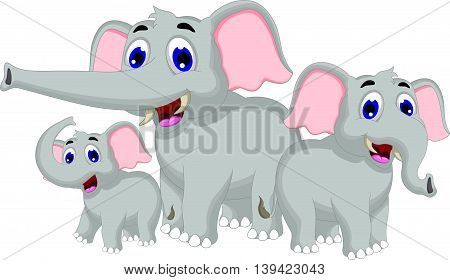funny elephant cartoon family for you design