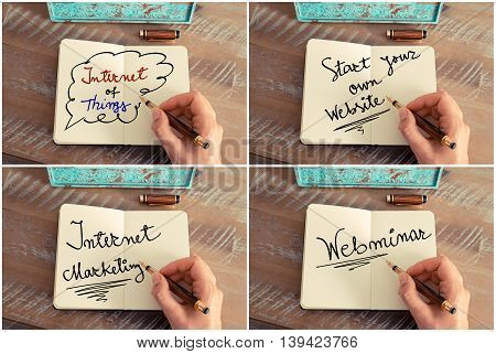 Photo collage of motivational business messages. Retro effect and toned image of a woman hand writing a note with a fountain pen on a notebook. Business success concept