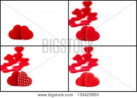 Photo collage with two red hearts isolated on white background copy space available