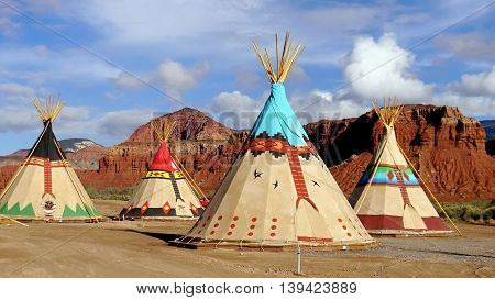 Indian tents decorated with ornaments. Utah, USA