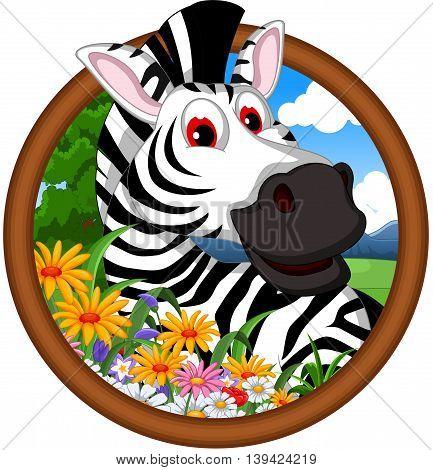 cute zebra cartoon in frame for your design