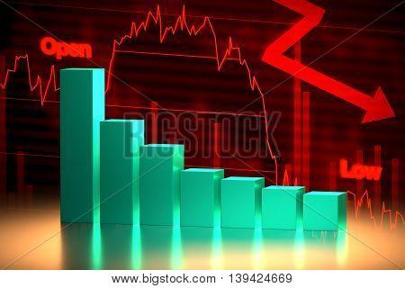 Bear Stock Market Chart, 3D Rendering