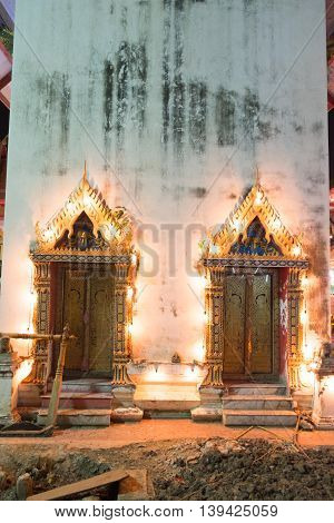 Thailand temple gate entrance in night at Wat King Kaew Samutparkarn Thailand
