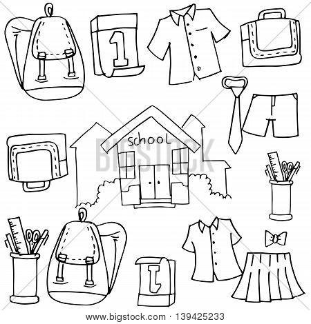 Doodle of school object bag tools illustration
