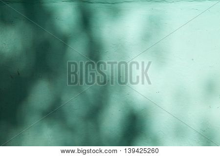 Teal color shadows and light blurred texture background. Green tints abstract blur backdrop