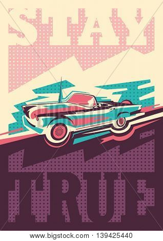 Conceptual retro style poster. Vector illustration.