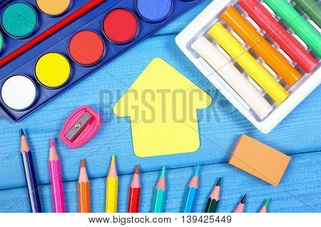 School Accessories And Shape Of Building On Boards, Back To School Concept