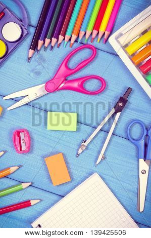 Vintage Photo, School Accessories On Blue Boards, Back To School Concept