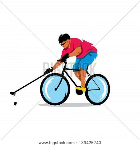 Man on a bicycle kicks the ball. Isolated on a White Background