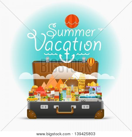 Dirrefent world famous sights. Vector travel illustration. Summer vacation
