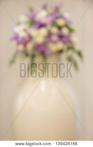 blur Wedding background decoration with beautiful bouquet